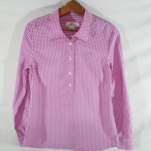 Vineyard Vines pink checked 3/4 button down shirt.
